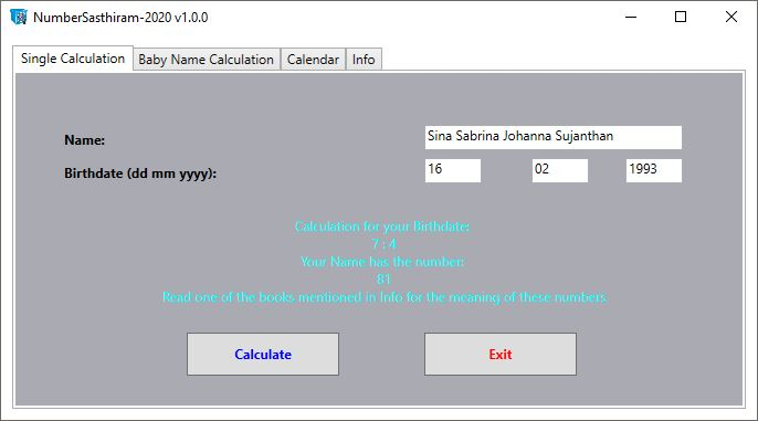 NumberSasthiram v2020 (nicht veröffentlichte Version)